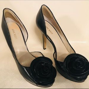 Nine West Black Flower Peep-Toe Heels
